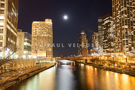Chicago at Night at Columbus Drive Bridge