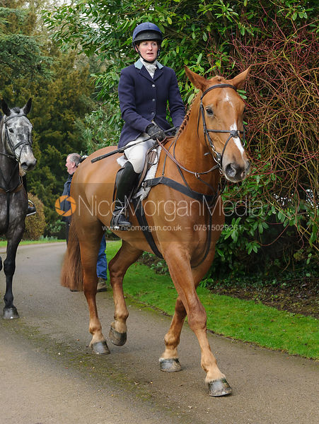 Rachel Finnegan arriving at the meet - The Cottesmore Hunt at Little Dalby 7/2