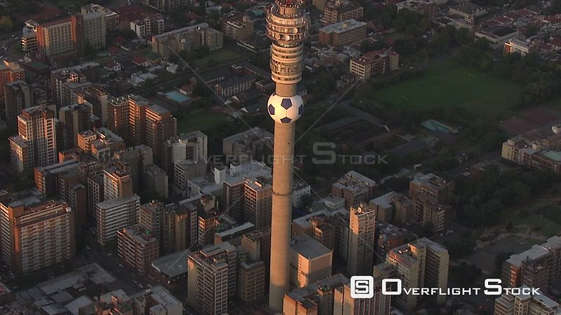 Aerial shot over the Hillbrow Tower Johannesburg Gauteng South Africa
