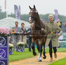 Georgie Spence and WII LIMBO - The first vets inspection (trot up),  Land Rover Burghley Horse Trials, 3rd September 2014.