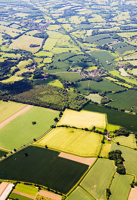 Aerial view of  English countryside near Manchester, England, UK, July.