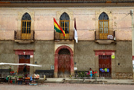 Windows and doorways of building on Plaza Aroma, Tarata, Cochabamba Department, Bolivia