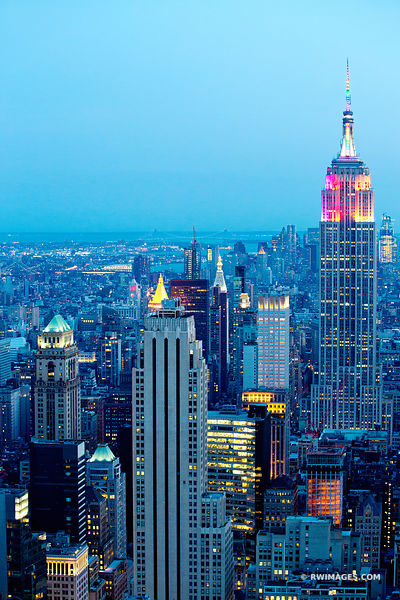 EMPIRE STATE BUILDING MANHATTAN NEW YORK CITY EVENING VERTICAL