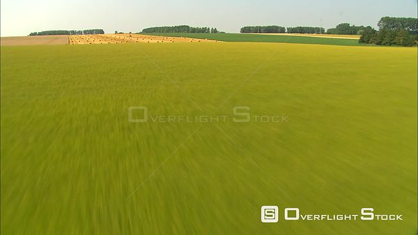 Flying over uncut fields and baled hay in Hainaut region, Belgium