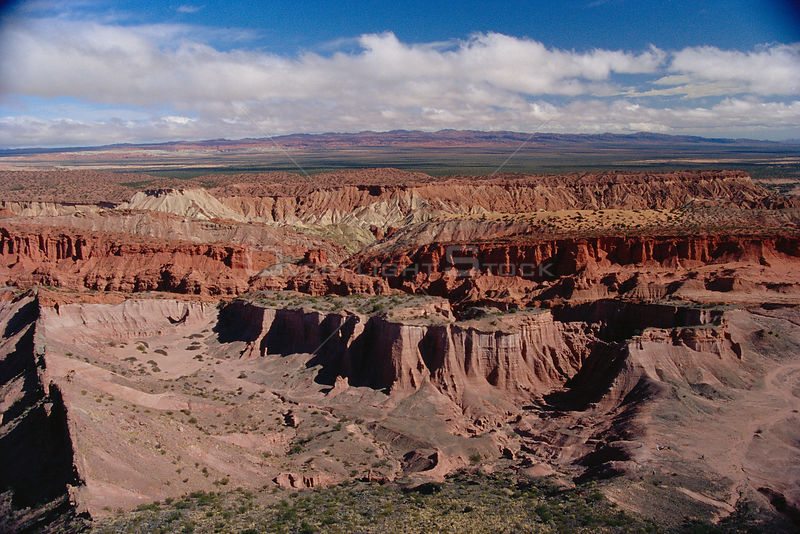 Aerial view of badlands, Talampaya NP, W Argentina, South America