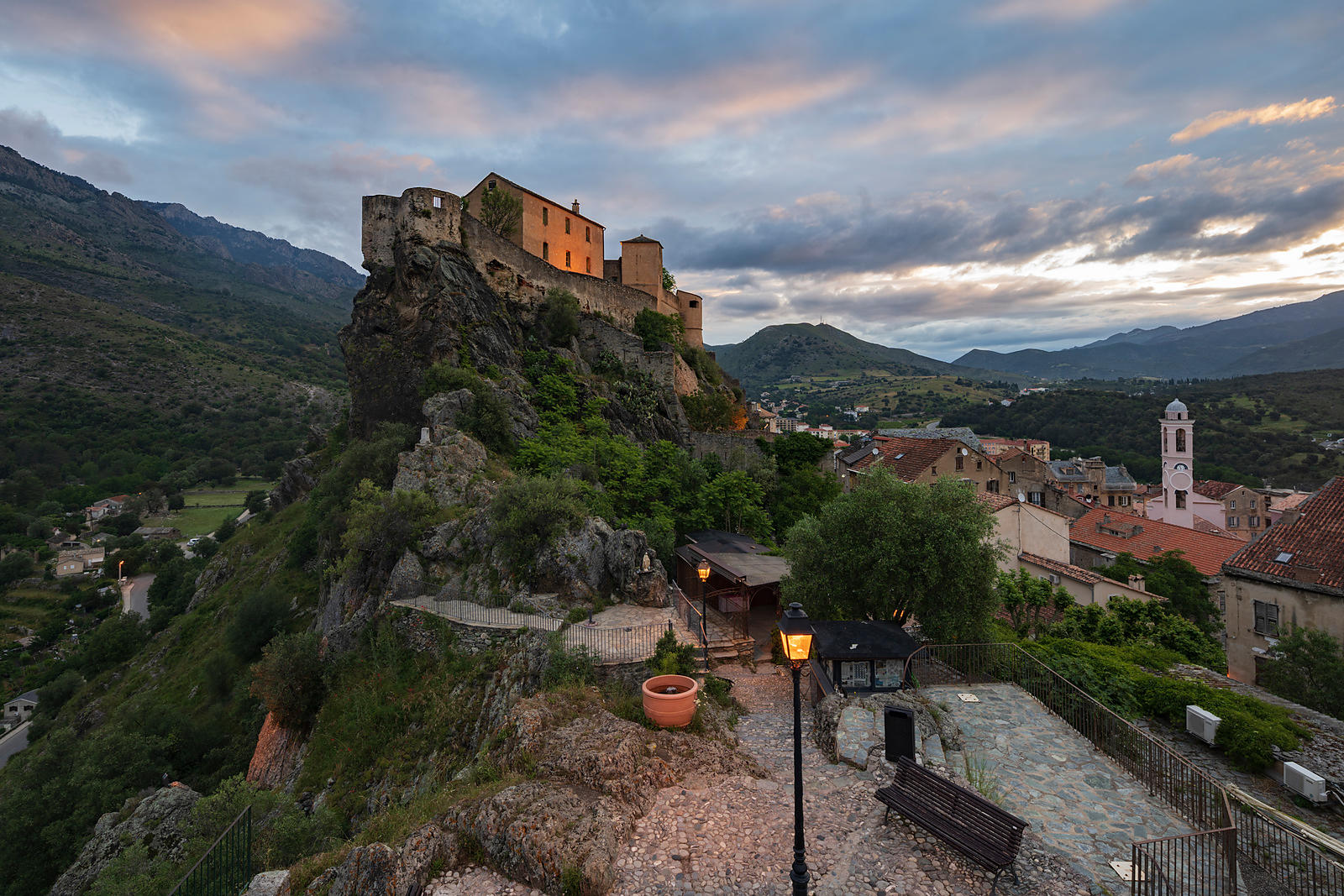 The Citadel of Corte from the Belvedere at Sunrise
