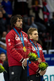 Feb 26, 2010: Pacific Coliseum, Vancouver, BC. Charles Hamelin of Canada wins the Gold Medal and Francois-Louis Trembley the ...