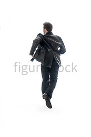 A Figurestock image of a man in a leather jacket, running – shot from eye level.
