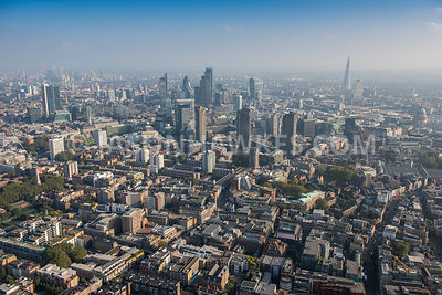 Aerial view of London, Clerkenwell towards The Shard.