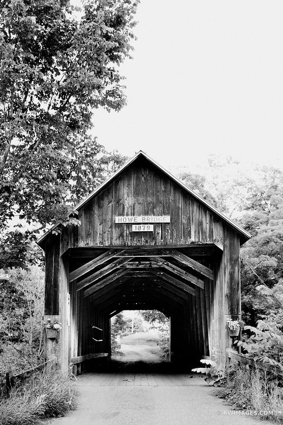 HOWE COVERED BRIDGE VERMONT BLACK AND WHITE VERTICAL