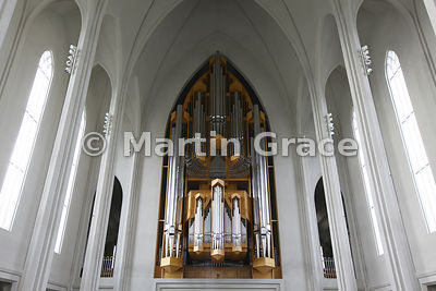 Interior of Hallgrimskirkja, Reykjavik's memorial church, consecrated in 1986