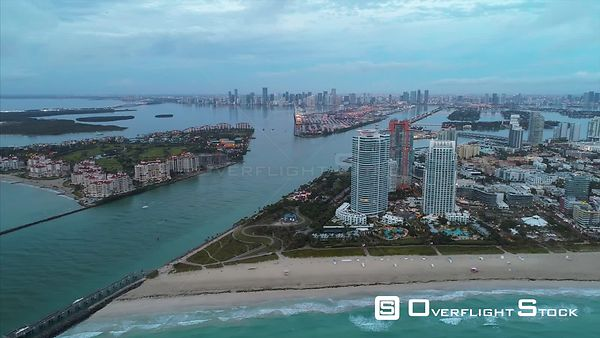South Pointe Beach and Pier Drone Video South Beach Miami Florida