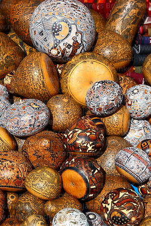 Carved gourds for sale in Chinchero market, Sacred Valley, Peru