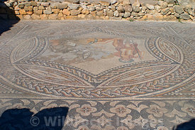 Bacchus and Ariadne mosaic in the House of the Knight, Volubilis, Morocco; Landscape