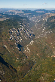 Aerial view of Tara Canyon, Durmitor NP, Montenegro, October 2008