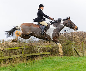 Sara Hercock jumping at Stone Lodge Farm - The Cottesmore Hunt at Tilton on the Hill, 9-11-13