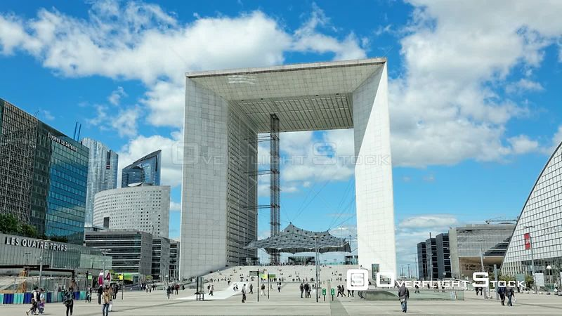 Timelapse of Grande Arche de la Defense Paris France