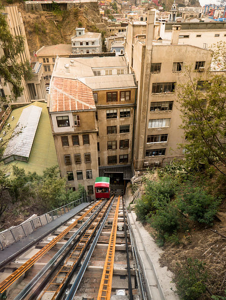 Funicular to the top of the hill overlooking Valparaiso