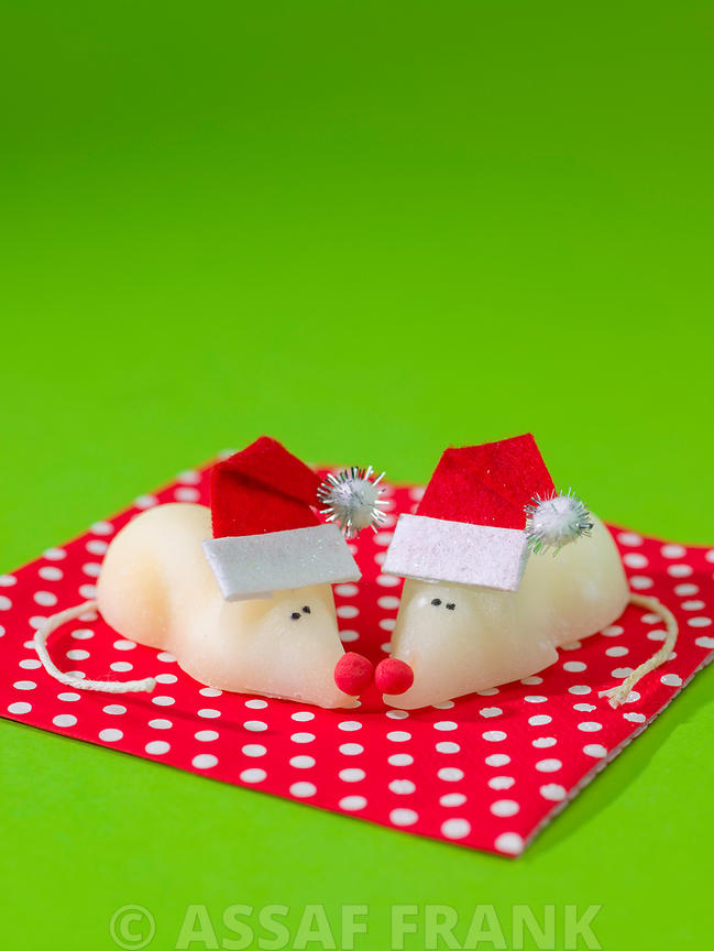 Christmas mice wearing Santa hat on green background