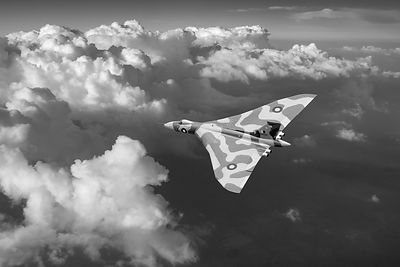 Vulcan catching the light black and white