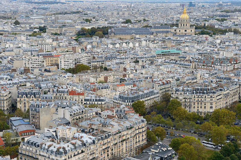 View from the Eiffel Tower of the Paris, France, November 2013.