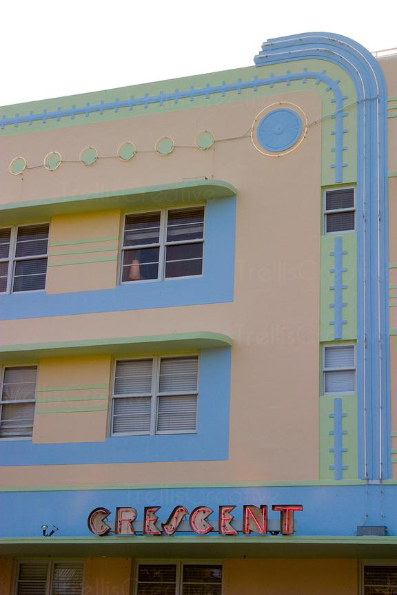 Crescent art deco styled hotel in South Beach Miami, Florida