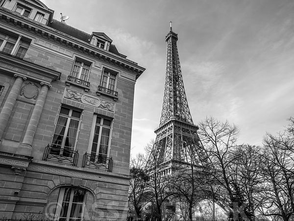 Old building next to Eiffel tower, Paris, France