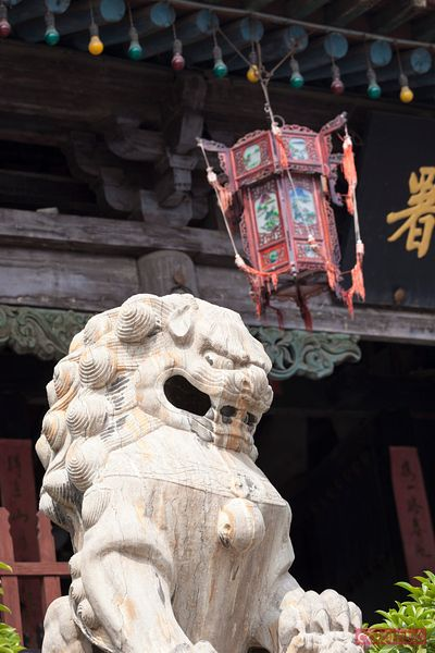 Marble lion and red lantern, Pingyao, China