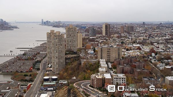 Aerial view following the coast of the Hudson south from Guttenberg, NJ.