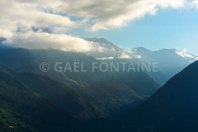 Last ray of sun on Pyrenean mountains close to Saint Lary Soulan, France