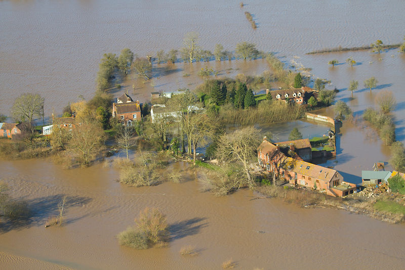 Farm flooded by River Severn during February 2014 floods, Gloucestershire, England, UK, 7th February 2014.