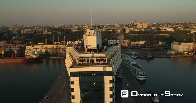 Drone rises up the side of the Odessa Hotel to reveal the city skyline. Ukraine