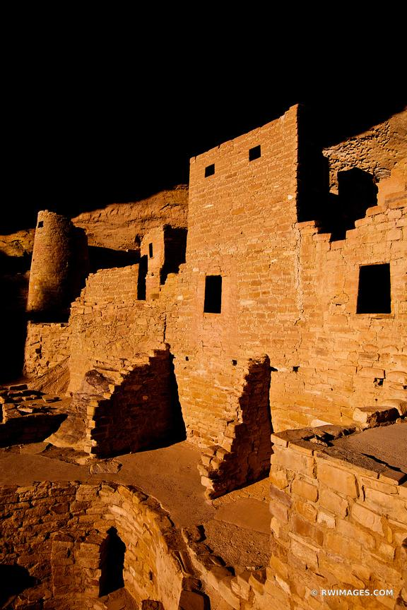 CLIFF PALACE RUINS ANCIENT DWELLINGS MESA VERDE NATIONAL PARK COLORADO VERTICAL COLOR VERTICAL