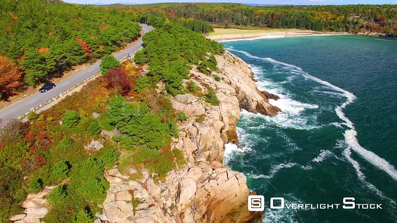 Acadia National Park Seashore Drive on Highway in Autumn, Maine.