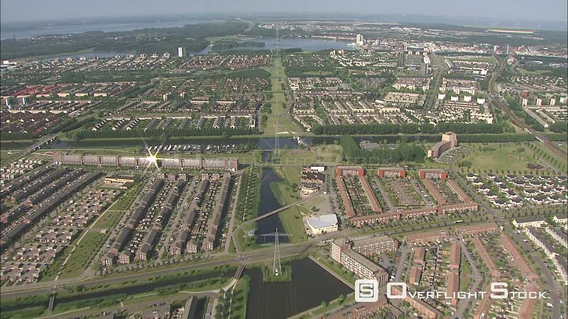 Almere from the air, The Netherlands