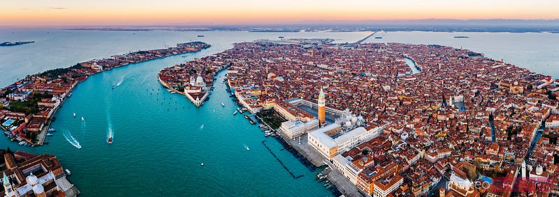 Aerial panoramic of Venice, Italy