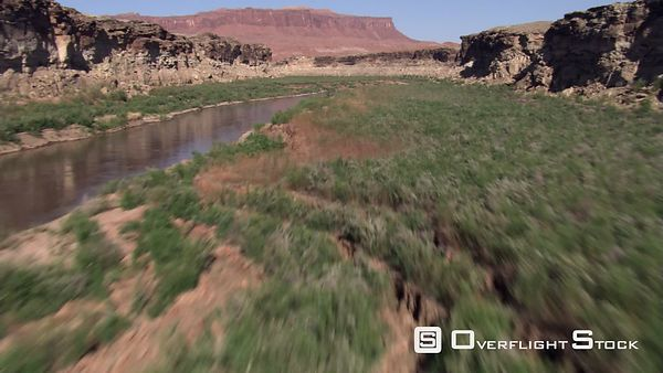 Fast flight crossing San Juan River in Utah
