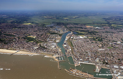 aerial photograph of Lowestoft Lake Lothing and Outer Harbour  Suffolk England UK