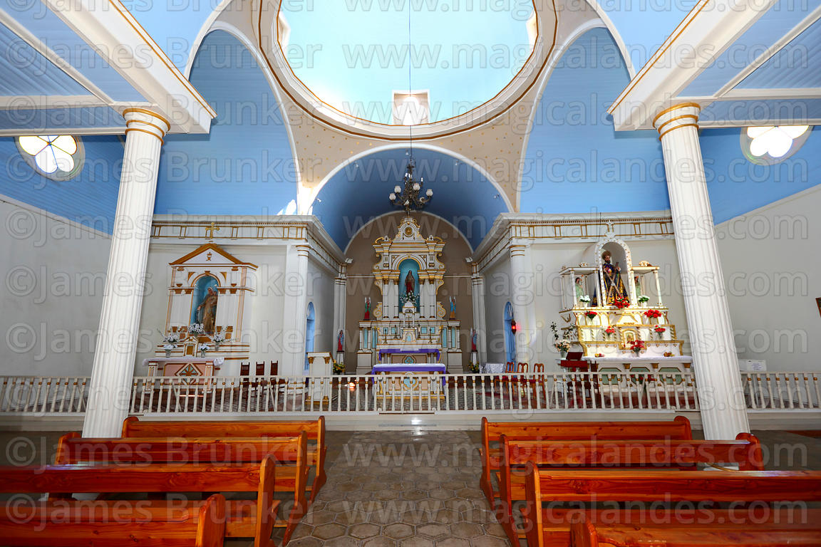 Interior of San Andres church , Pica , Region I , Chile