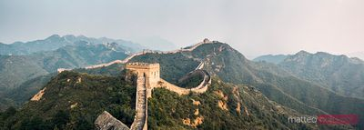 Panoramic of Great Wall at sunset, Jinshanling, China