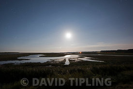 Cley Marshes Norfolk Wildlife Trust Reserve under moonlight Norfolk summer