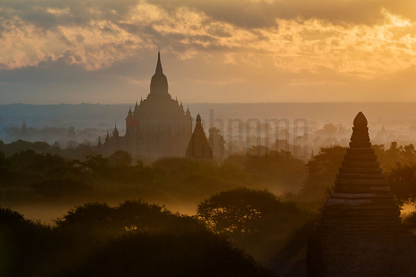 Elevated View of Pagodas at Sunrise
