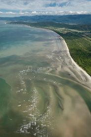 Aerial view of the Daintree River delta and beach, Queensland, Australia
