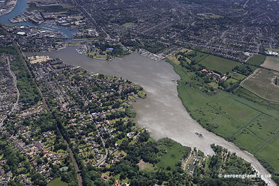 aerial photograph of Oulton Broad  Lowestoft   Suffolk England UK