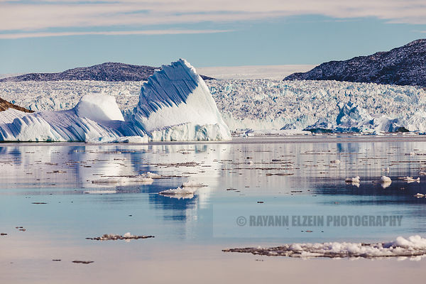 The front of the Store Glacier at the eastern end of the Uummannaq fjord, with a large iceberg that just calved in the foregr...