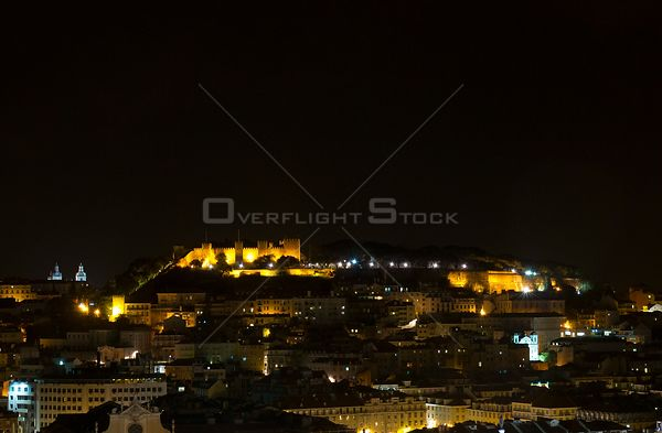 PORTUGAL Lisbon -- View of Castle St George at night in central Lisbon Portugal