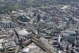 Manchester view of Manchester Arena Victoria Station approach and the area of the NOMA regeneration and redevelopment area of...