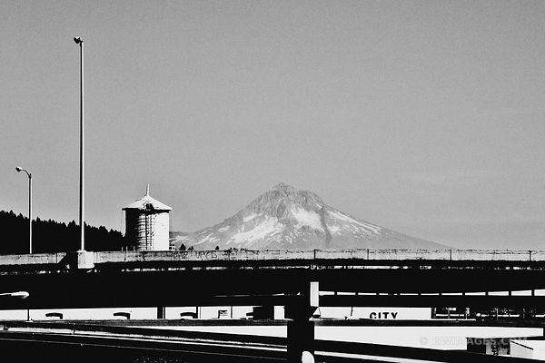 MOUNT HOOD FROM PORTLAND OREGON BLACK AND WHITE