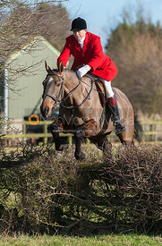 Nicholas Leeming MFH jumping the first hedge