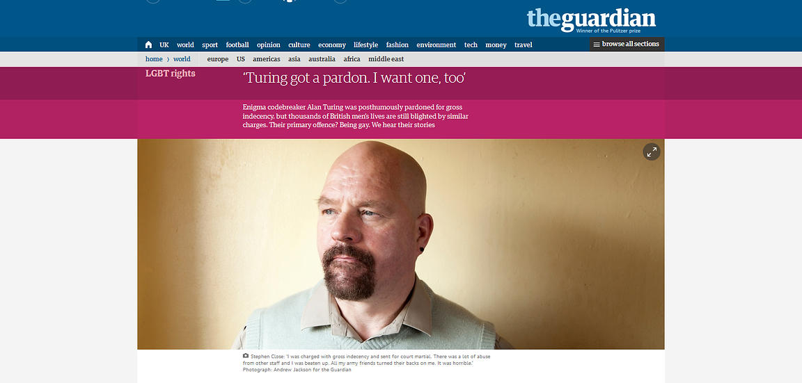 Gay rights campaigner, Stephen Close - The Guardian Weekender